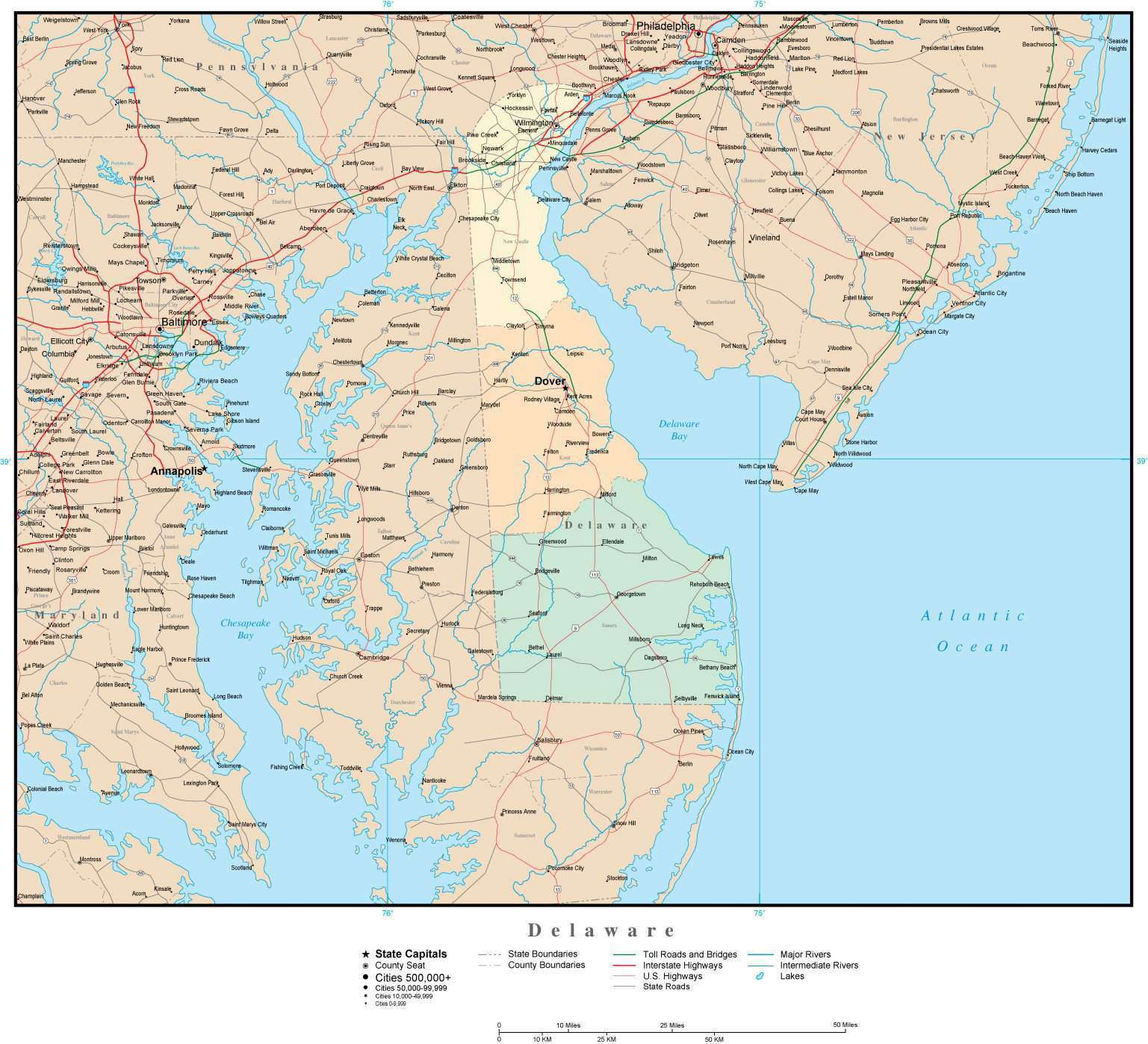 Delaware Map with Counties, Cities, County Seats, Major Roads, Rivers and  Lakes