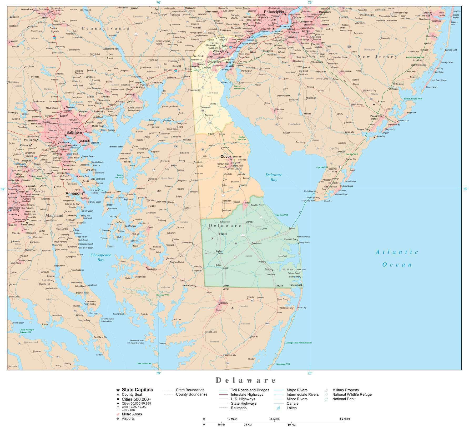 Detailed Delaware Digital Map with Counties, Cities, Highways, Railroads,  Airports, National Parks and more