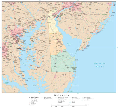Poster Size High Detail Delaware Map with Counties, Cities, Highways, Railroads, Airports, National Parks and more