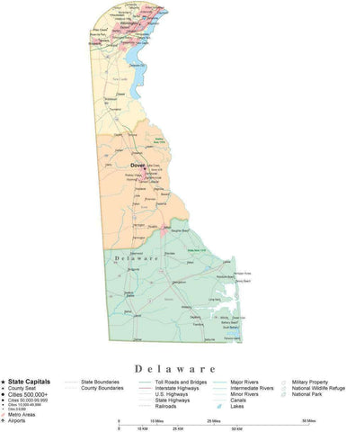 Poster Size Delaware Cut-Out Style Map with Counties, Cities, Highways, National Parks and more