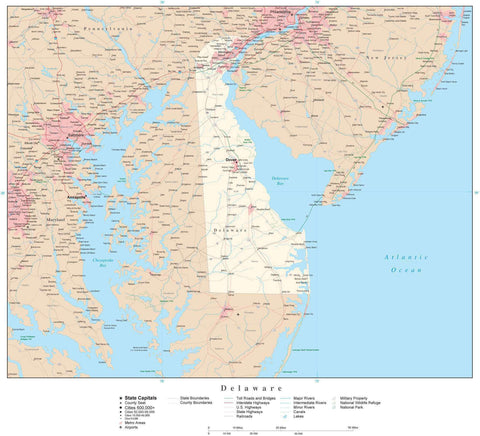Poster Size Delaware Map with County Boundaries, Cities, Highways, National Parks, and more