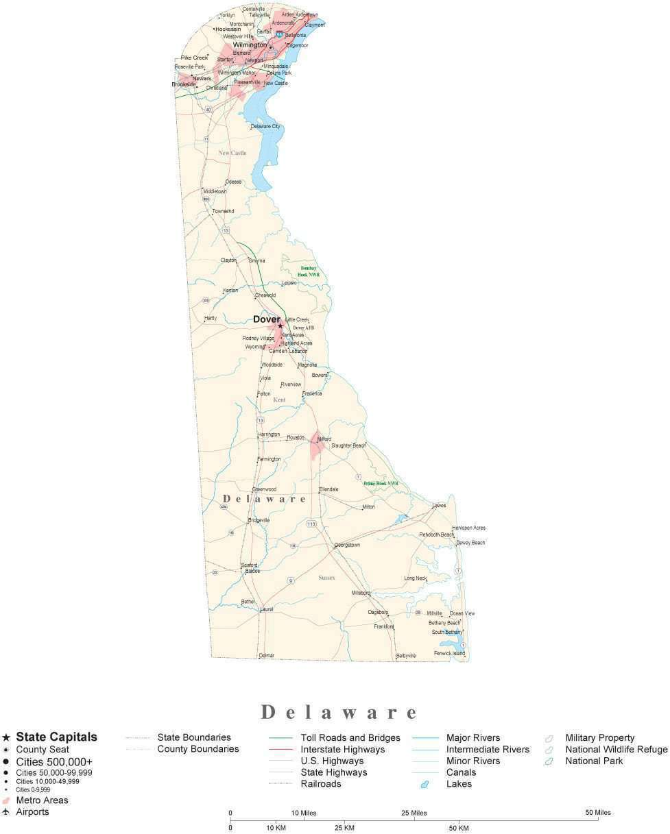 Delaware Detailed Cut-Out Style State Map in Adobe Illustrator ... on