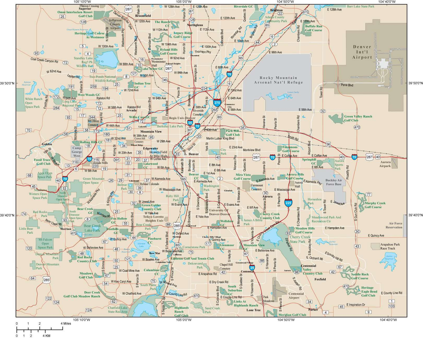 Denver CO Map - Metro Area - 918 square miles - with Major Roads