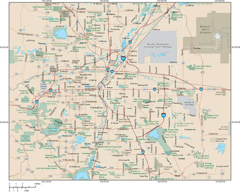 Denver Map Adobe Illustrator vector format DEN-XX-984795