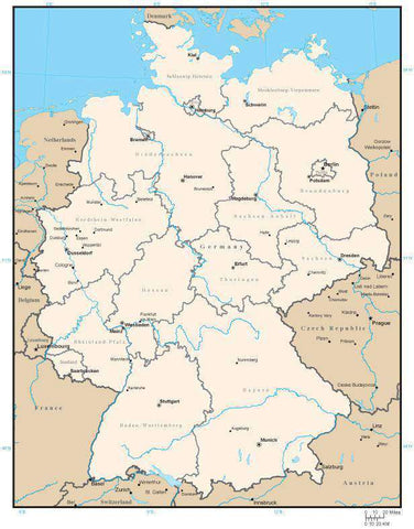 Germany Map with States and State Capitals