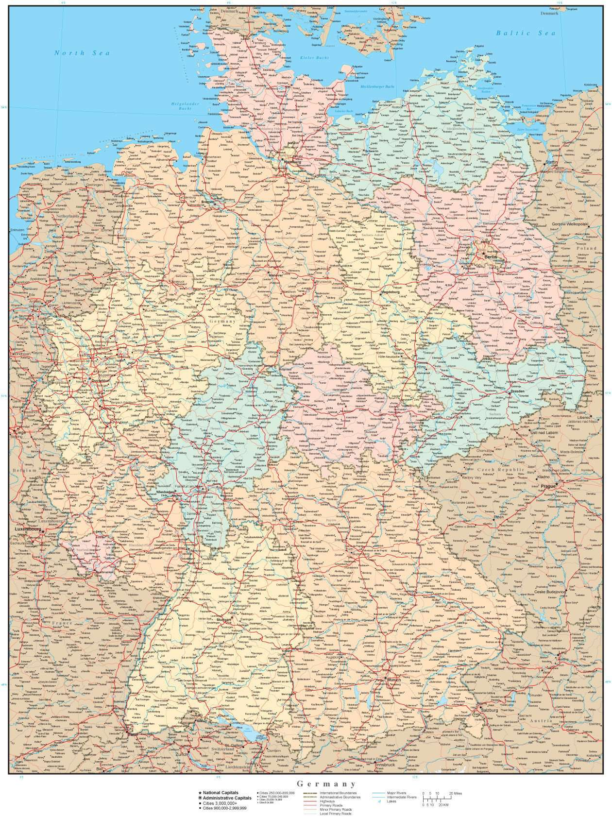 Country Of Germany Map.High Detail Germany Map With States