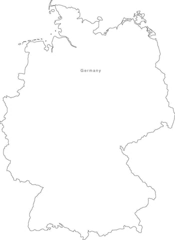 Digital Black & White Germany map in Adobe Illustrator EPS vector format