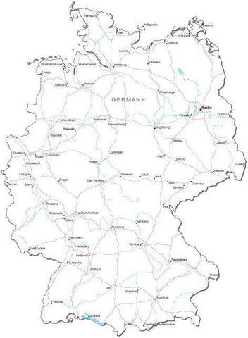 Germany Black & White Map with Capital, Major Cities, Roads, and Water Features