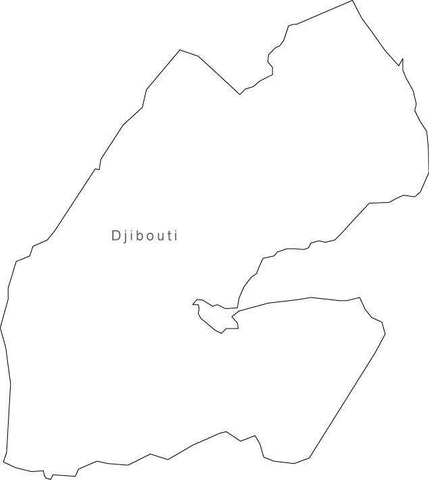 Digital Black & White Djibouti map in Adobe Illustrator EPS vector format