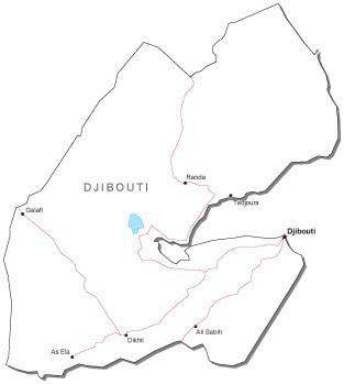 Djibouti Black & White Map with Capital, Major Cities, Roads, and Water Features