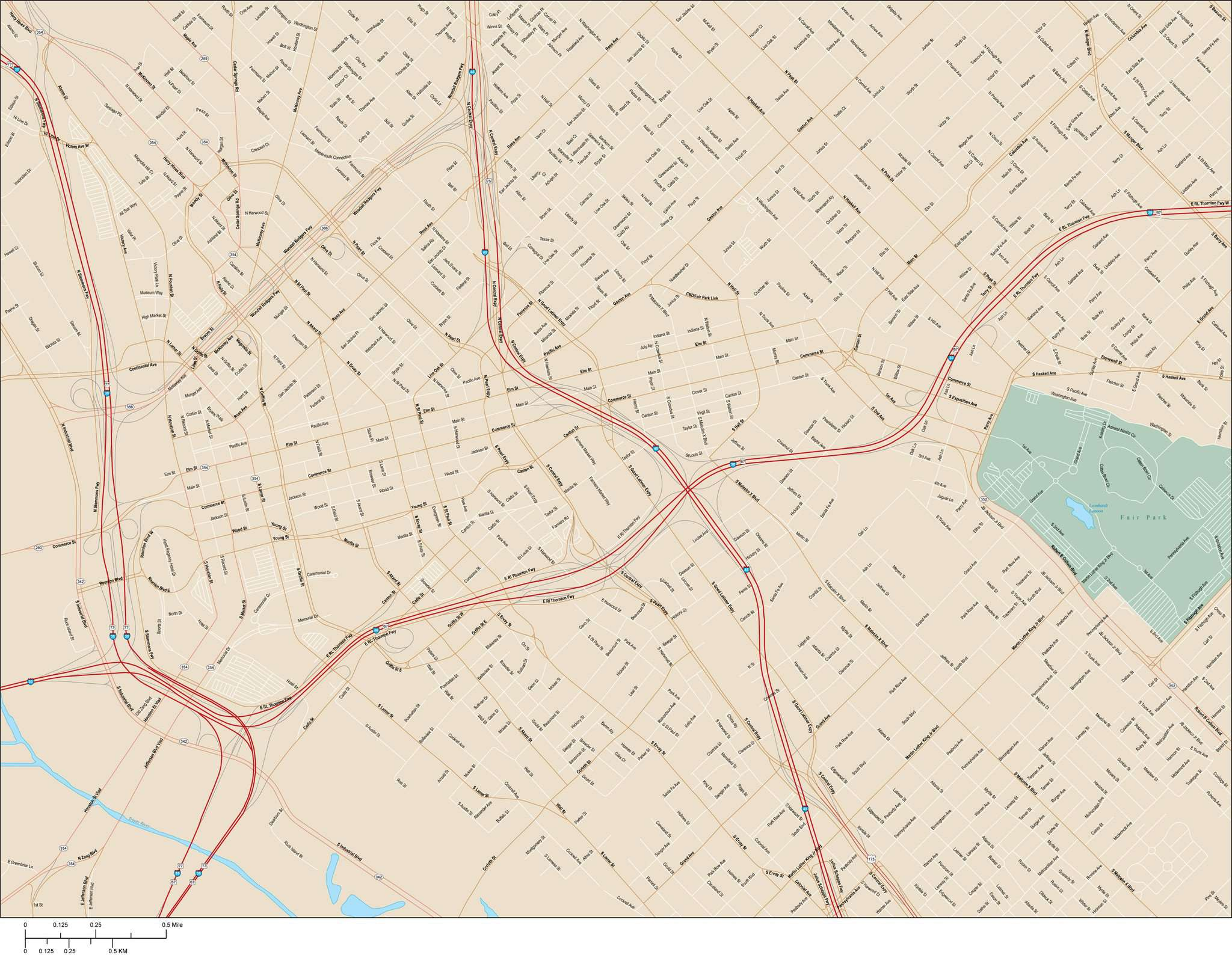 Dallas Map with Local Streets in Adobe Illustrator vector format DLS on