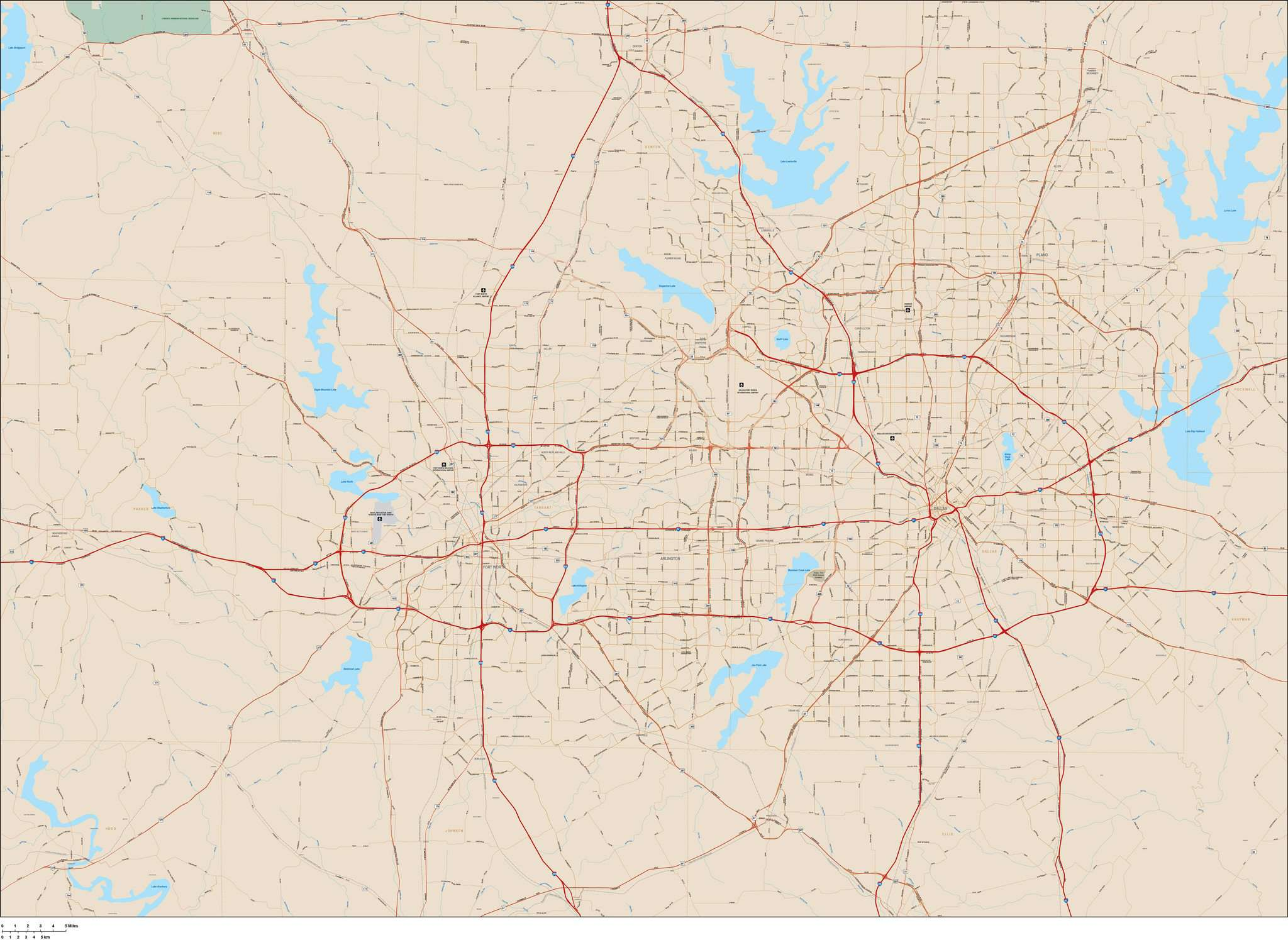 Dallas and Fort Worth Metro Map in Adobe Illustrator Vector Format ...