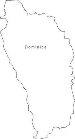 Digital Black & White Dominica map in Adobe Illustrator EPS vector format