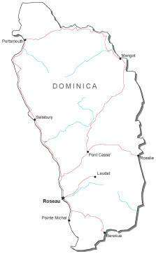 Dominica Black & White Map with Capital, Major Cities, Roads, and Water Features