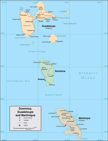 Digital Dominica Guadeloupe Martinique map in Adobe Illustrator vector format