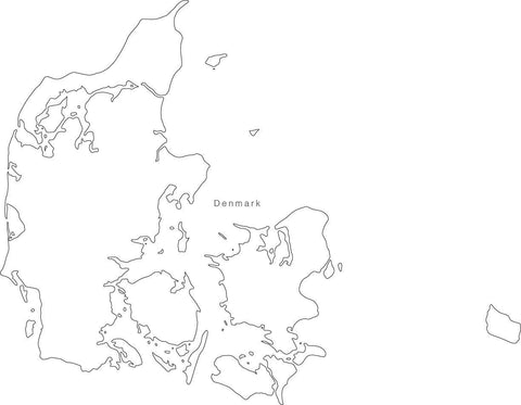 Digital Black & White Denmark map in Adobe Illustrator EPS vector format