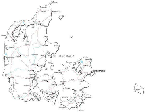 Denmark Black & White Map with Capital, Major Cities, Roads, and Water Features