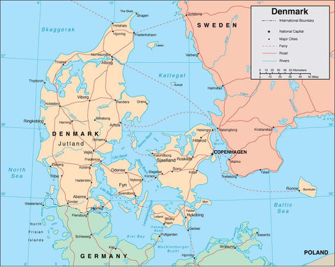 Digital Denmark map in Adobe Illustrator vector format