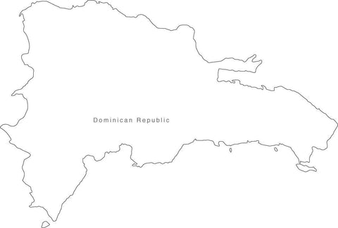 Digital Black & White Dominican Republic map in Adobe Illustrator EPS vector format