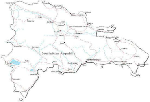 Dominican Republic Black & White Map with Capital, Major Cities, Roads, and Water Features