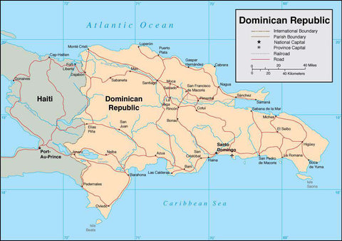 Digital Dominican Republic map in Adobe Illustrator vector format