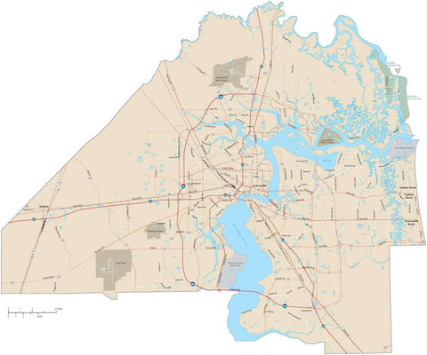 Duval County Florida Map with Arterial and Major Road Network