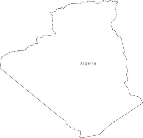Digital Black & White Algeria map in Adobe Illustrator EPS vector format