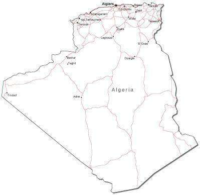 Algeria Black & White Map with Capital Major Cities and Roads
