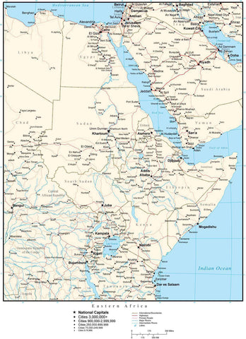 Eastern Africa Map with Country Boundaries, Capitals, Cities, Roads and Water Features