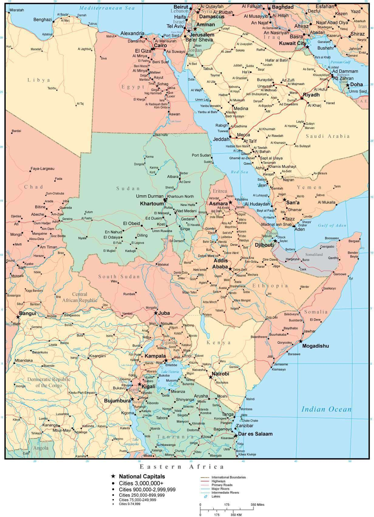 Eastern Africa Map with Countries, Capitals, Cities, Roads and Water  Features