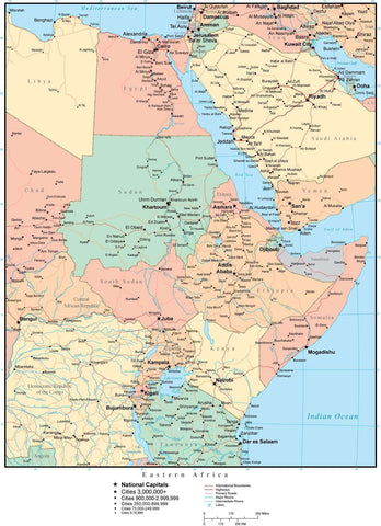 Eastern Africa Map with Countries, Cities, and Roads – Map Resources