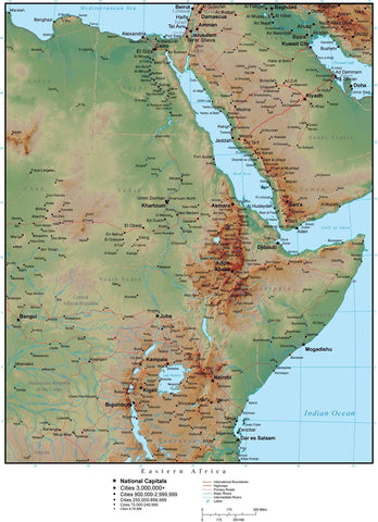 Eastern Africa in Adobe Illustrator vector format with Photoshop terrain image E-AFRI-952899