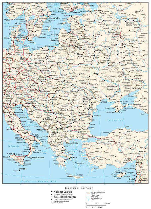 Eastern Europe Map Rivers.Eastern Europe Map With Countries Cities And Roads
