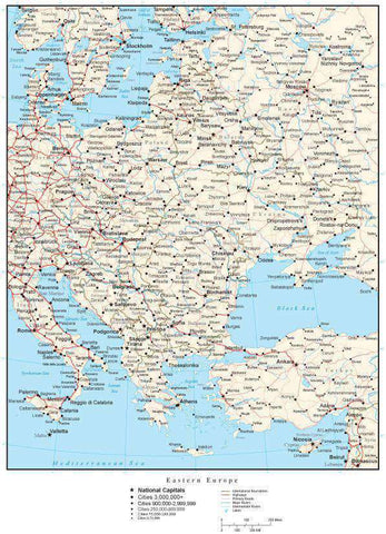 Eastern Europe Map with Country Boundaries, Capitals, Cities, Roads and Water Features