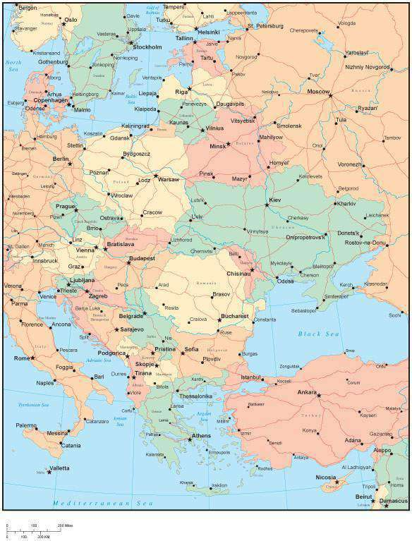 Multi Color Eastern Europe Map with HIghways, Countries, Major ...