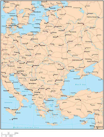 Single Color Eastern Europe Map with Countries, Capitals, Major Cities and Water Features