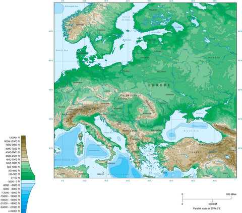 Digital Eastern Europe Contour map in Adobe Illustrator vector format.