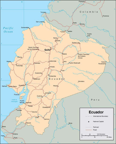 Digital Ecuador map in Adobe Illustrator vector format