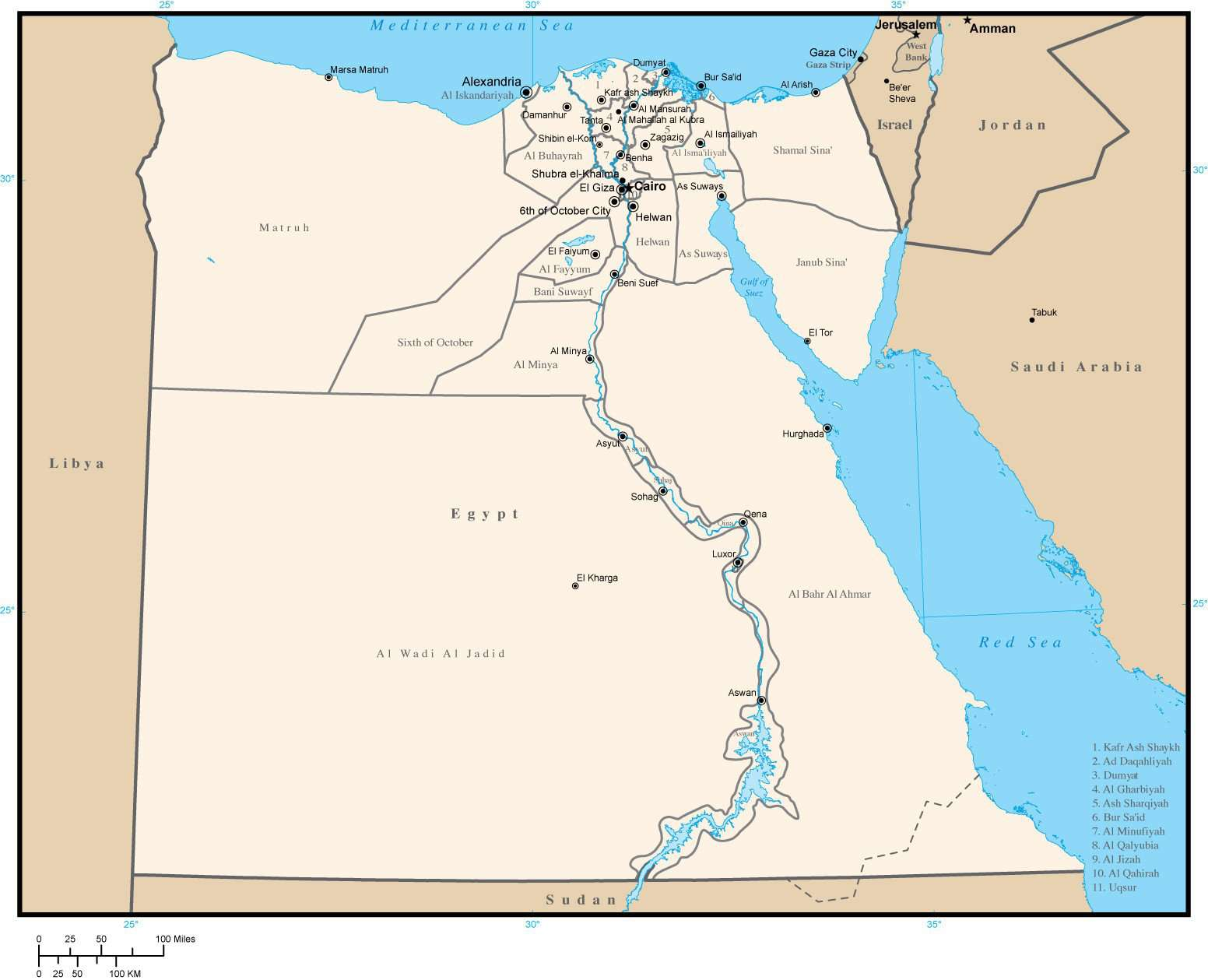 Egypt Map with Admin Areas and Capitals in Adobe Illustrator Format