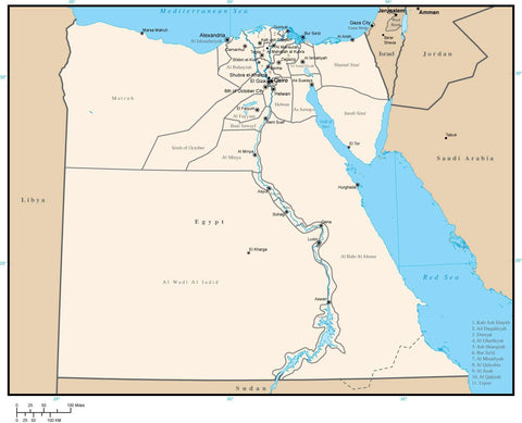 Egypt Digital Vector Map with Administrative Areas and Capitals