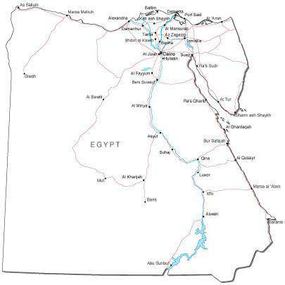 Egypt Black & White Map with Capital, Major Cities, Roads, and Water Features