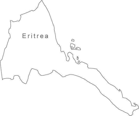 Eritrea Map - Black & White Simple Outline