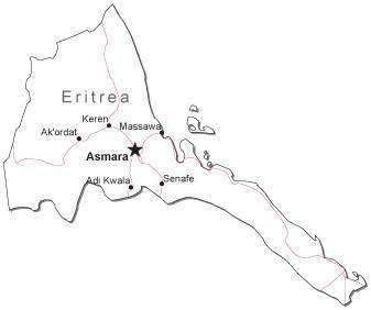 Eritrea Black & White Map with Capital Major Cities and Roads