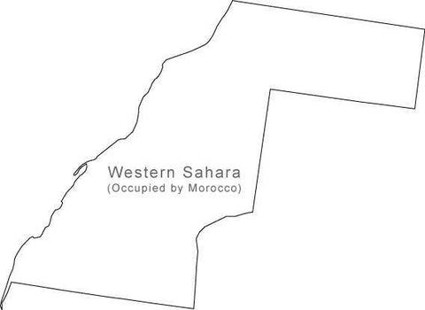 Digital Black & White Western Sahara map in Adobe Illustrator EPS vector format