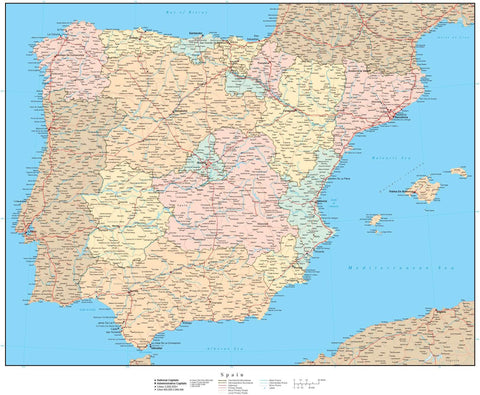 Spain & Portugal Map - High Detail with Internal Administrative Areas