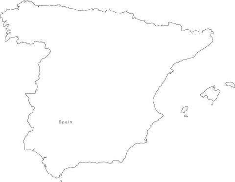 Digital Black & White Spain map in Adobe Illustrator EPS vector format