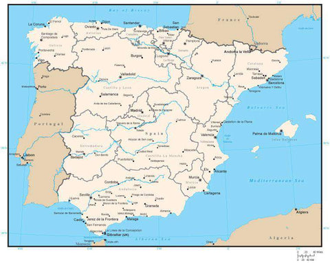 Spain Digital Vector Map with Administrative Areas and Capitals