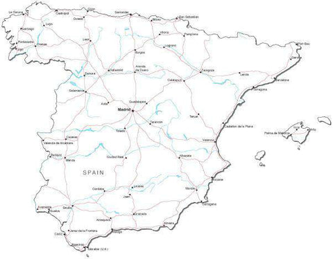 Spain Black & White Map with Capital, Major Cities, Roads, and Water Features