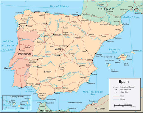 Digital Spain map in Adobe Illustrator vector format