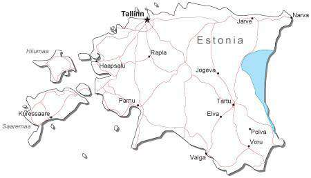 Estonia Black & White Map with Capital, Major Cities, Roads, and Water Features